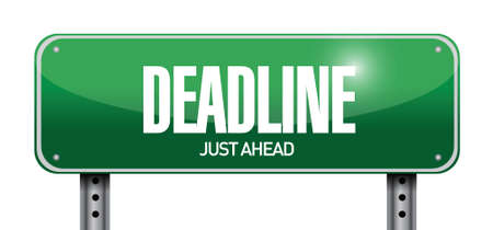 deadline road sign illustration design over white Illustration