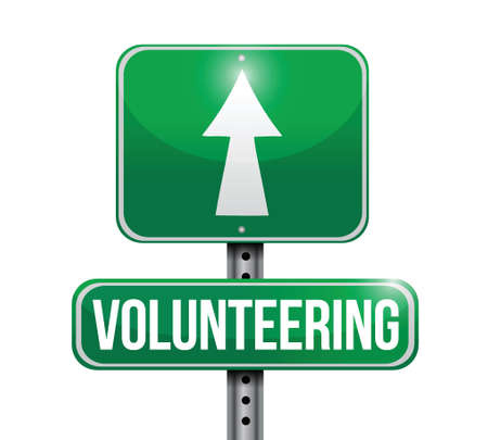 volunteering road sign illustration design over white
