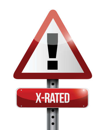 X-rated warning road sign illustration design over white Stock Vector - 23964391