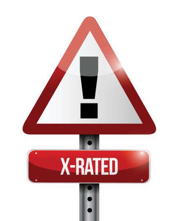 pornography: X-rated warning road sign illustration design over white Illustration