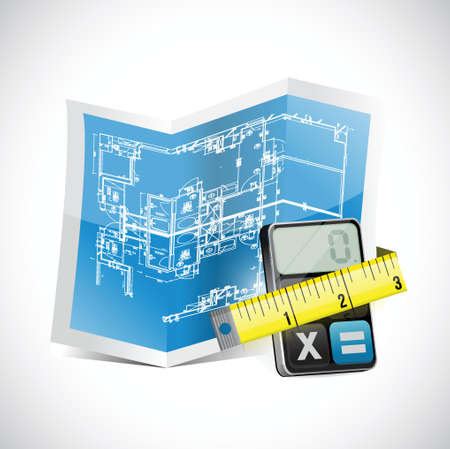 residential district: blueprint, calculator and measuring tape illustration design over white