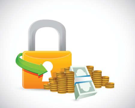 lock symbol: money protection lock symbol illustration design over white Illustration