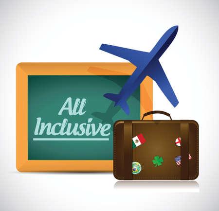 inclusive: all inclusive travel concept illustration design over white Illustration
