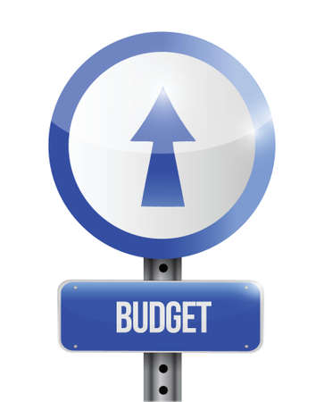 budget going up road sign illustration design over white Vectores