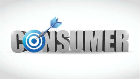 consument woord en target illustratie ontwerp op wit
