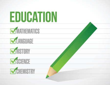 education check list illustration design over a white paper background