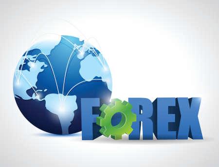 monetize: globe forex network illustration design over a white background