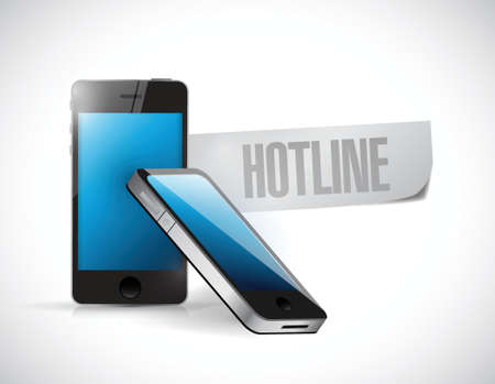 hotline: hotline phone message illustration design over a white background Illustration