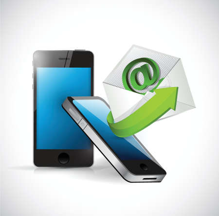 email us: contattaci email e messaggio telefonico design illustrazione su uno sfondo bianco Vettoriali