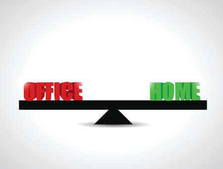 office versus home balance illustration design over a white background