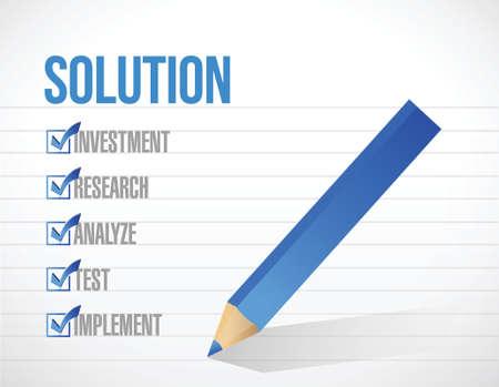 oplossing checklist illustratie ontwerp op een wit papier achtergrond