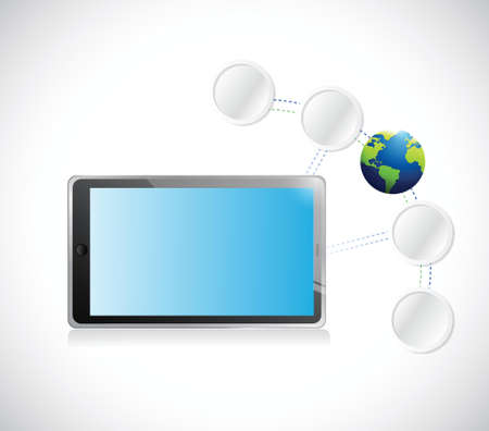 customize: tablet and connection link diagram over a white background