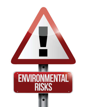 environmental risks warning road sign illustration design over white Stock Vector - 23964483