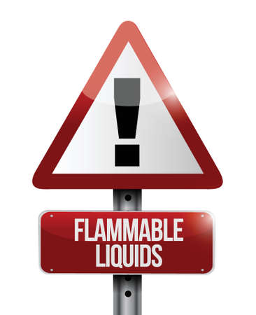 flammable warning: flammable liquids warning road sign illustration design over white Illustration