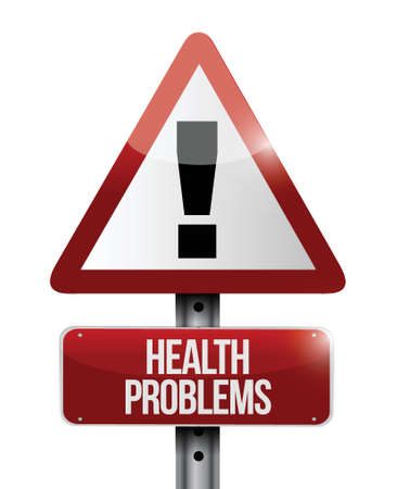 health problems warning road sign illustration design over white Stock Vector - 23964517