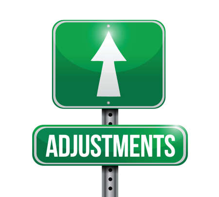 approaching: adjustments road sign illustration design over a white background