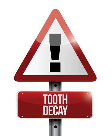 diente caries: advertencia caries se�al de tr�fico ilustraci�n, dise�o en blanco