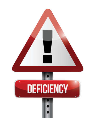 deficiency: deficiency warning road sign illustration design over a white background