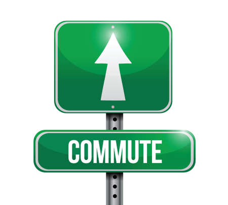 commute road sign illustration design over a white background Illustration
