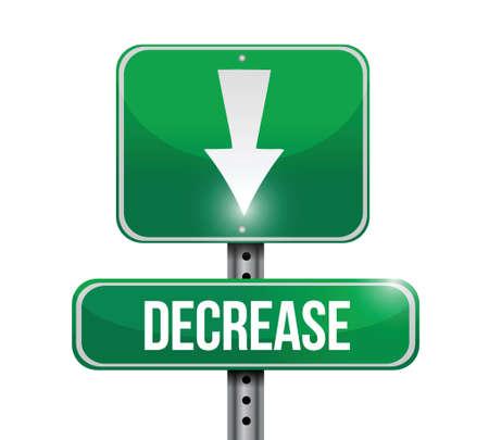 decrease road sign illustration design over a white background