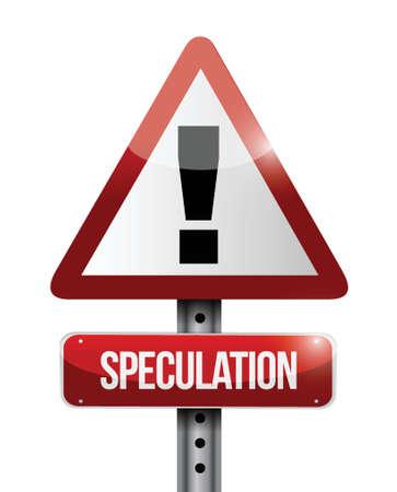 unreal unknown: avvertimento speculazione cartello stradale design illustrazione su uno sfondo bianco