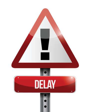 delay: delay warning road sign illustration design over a white background