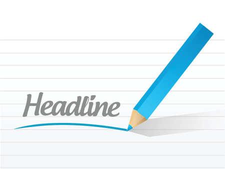 headline: word headline written on a white background. illustration design
