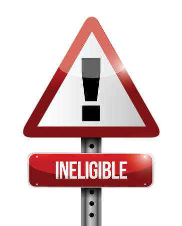 白色の背景上不適格警告道路標識イラスト デザイン