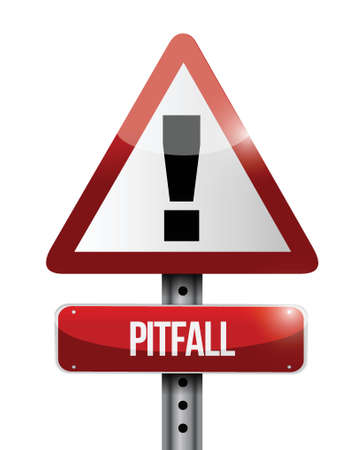 pitfall: pitfall warning road sign illustration design over a white background