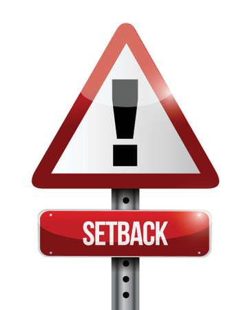 後退、白い背景の上の道路標識イラスト デザインの警告  イラスト・ベクター素材