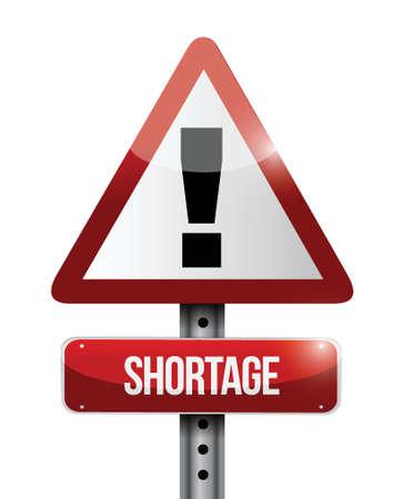 shortage warning road sign illustration design over a white background Illusztráció