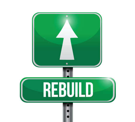 slow: rebuild road sign illustration design over a white background Illustration