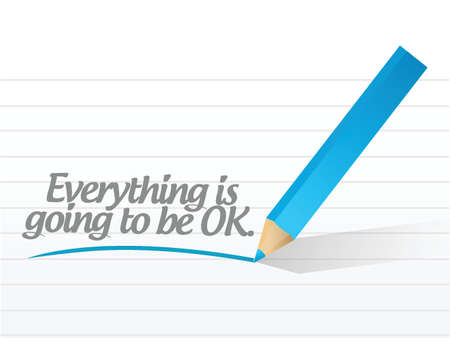 everything is ok message written on a white piece of paper. Stock Vector - 23974411
