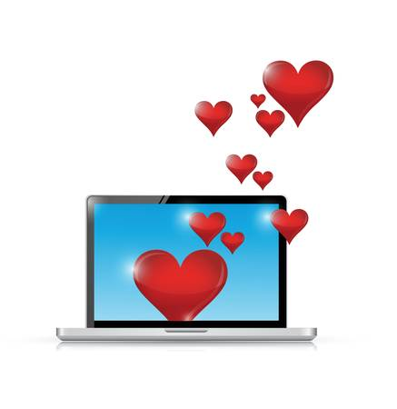 computer love connection. internet communication concept. illustration design over white Vector