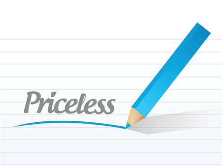 priceless: word priceless written on a white piece of paper. illustration design