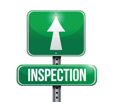 traffic violation: inspection road sign illustration design over a white background