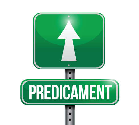 predicament road sign illustration design over a white background