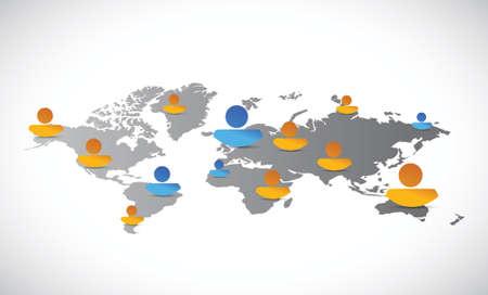 business relationship: world map people network connection illustration design over white Illustration