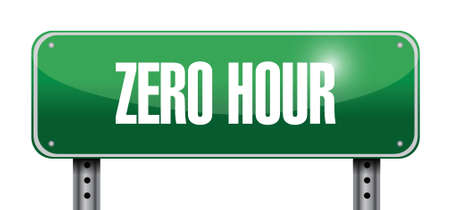 zero hour road sign illustration design over white Vector