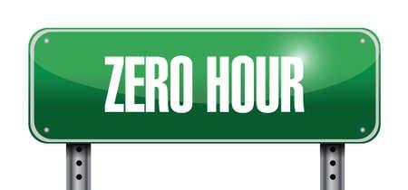 traffic violation: zero hour road sign illustration design over white