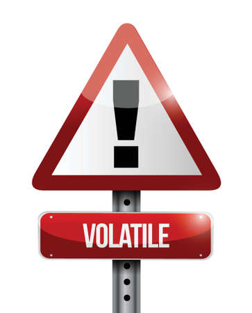 volatile: volatile warning road sign illustration design over white Illustration