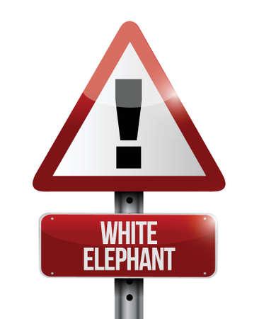 white elephant warning road sign illustration design over white Stock Vector - 23974493