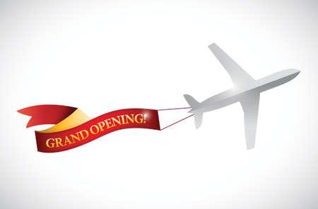abertura: avión y gran apertura bandera de la cinta diseño ilustración más de blanco