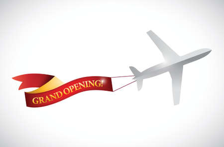 plane and grand opening ribbon banner illustration design over white Ilustração