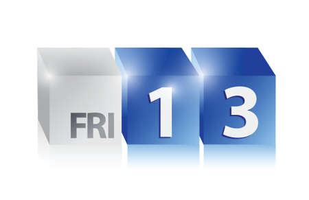 13th: friday thirteen date in cubes. illustration design over white