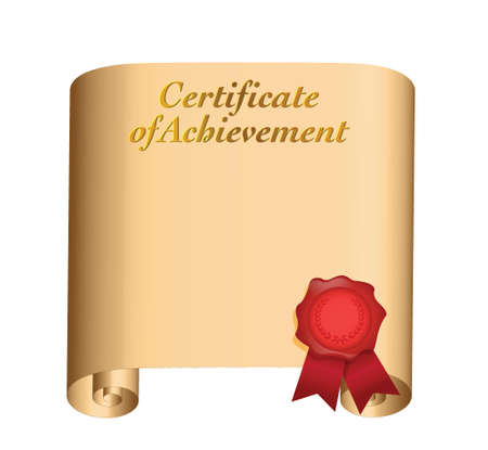 certificate of achievement illustration design over a white background Vector