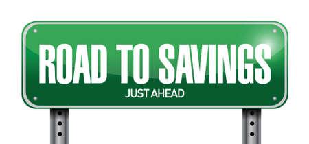 slow down: road to savings sign illustration design over white Illustration