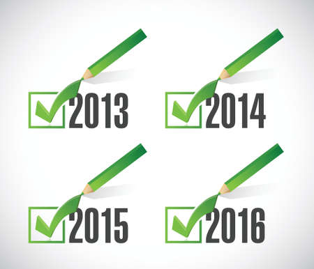 selections: 2014 2015 2016 check mark selections. illustration design over white Illustration