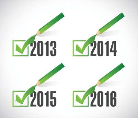 2014 2015 2016 selecciones marca de verificación. ilustración, diseño en blanco Foto de archivo - 23974526