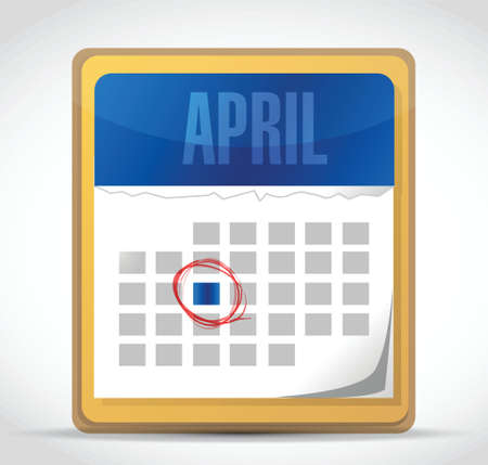 month 3d: april calendar illustration design over a white background